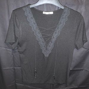 Black laced up shirt